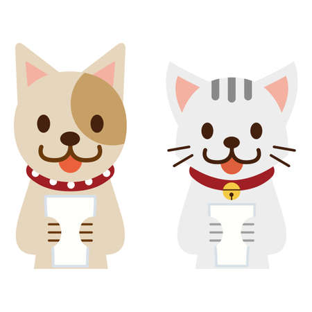 Pets with a cup Illustration