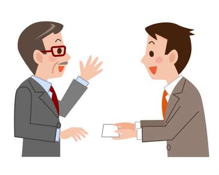 Business card exchange Stock Illustratie