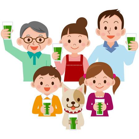 野菜ジュースを飲む家族