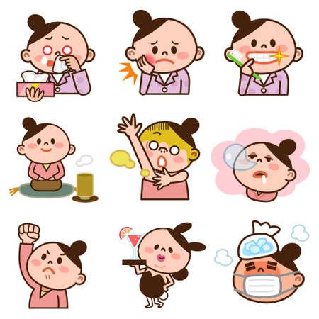 dozing: Set of young women illustrations Illustration