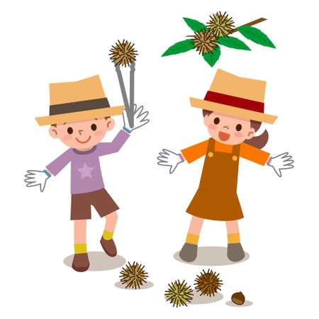 Les enfants à ramasser des châtaignes