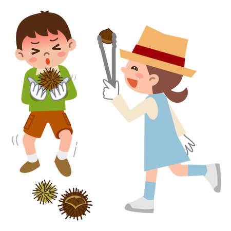 picking: Children to be picking up chestnuts Illustration