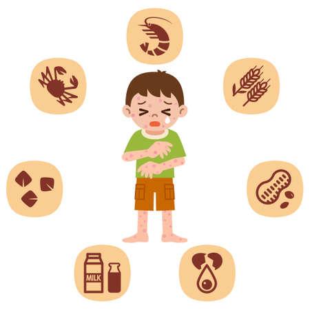 I bambini che soffrono di allergie Vettoriali