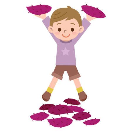 Boy with a sweet potato Illustration