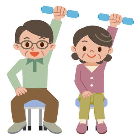 Senior couple doing a dumbbell exercise