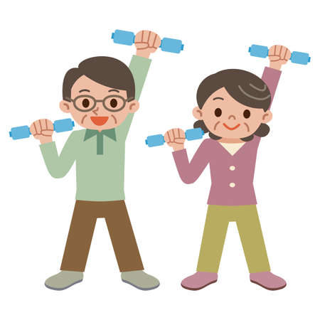 Senior couple have a dumbbell exercise Illustration