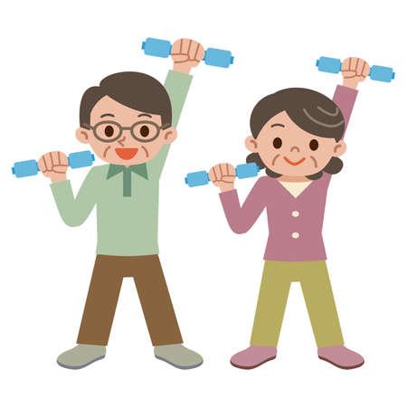 Senior couple have a dumbbell exercise Vektorové ilustrace