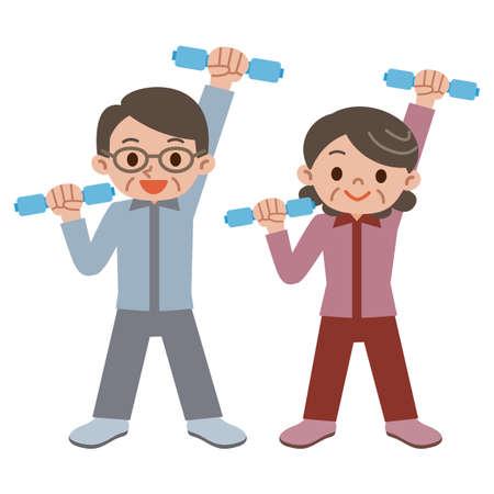 senior couple: Senior couple have a dumbbell exercise Illustration