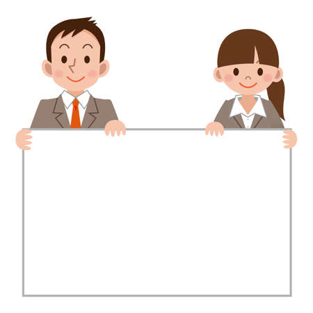 Businesswoman and businessman with a white board
