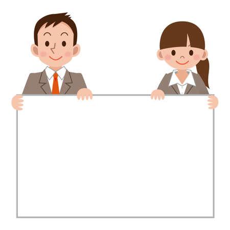 Empresaria y hombre de negocios con un tablero blanco Ilustración de vector