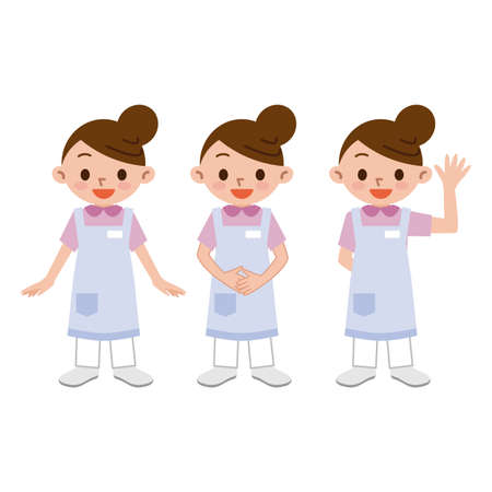 home care nurse: Young women of caregiver Illustration