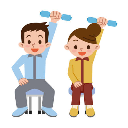Young men and women has a dumbbell exercise Ilustração