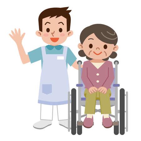 車椅子や若い介護者の年配の女性  イラスト・ベクター素材