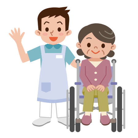 Senior vrouw in een rolstoel en jonge mantelzorger Stock Illustratie