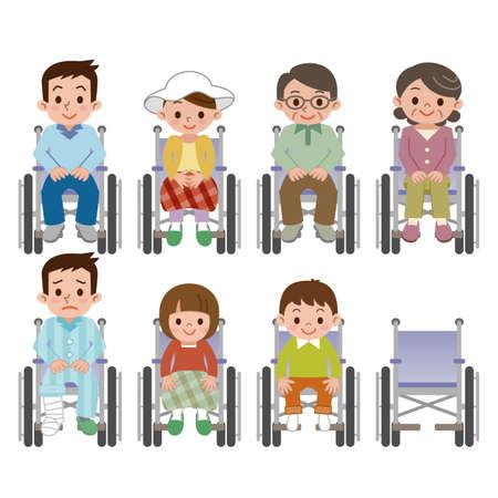 車椅子の人の坐っている人  イラスト・ベクター素材