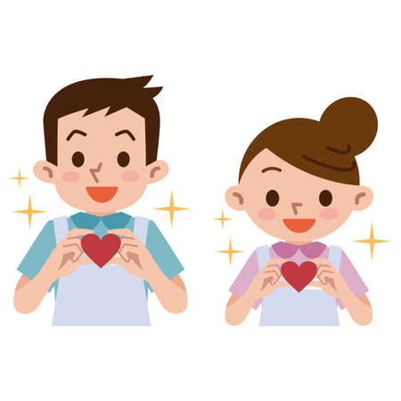 Caregivers care with hearts Illustration