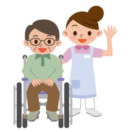 Senior man in a wheelchair with a young caregiver