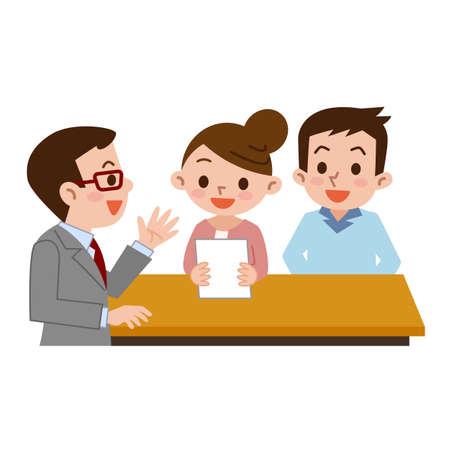 Couple submit documents Stock Illustratie
