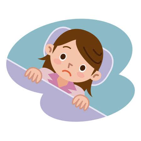 불면증의 여성 일러스트