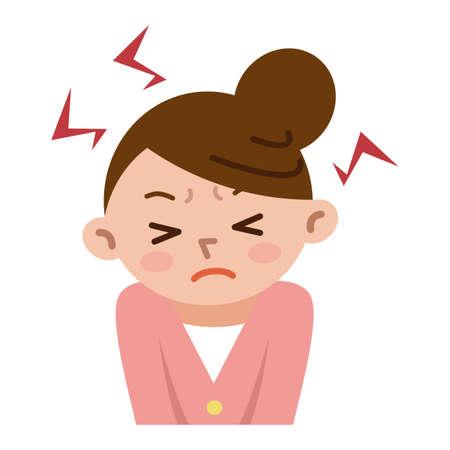 女性のストレスでイライラ  イラスト・ベクター素材