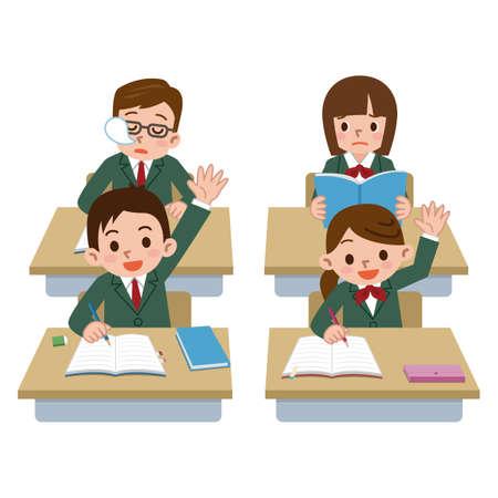 남성 학생들은 수업 시간에 잠이 떨어지고있다