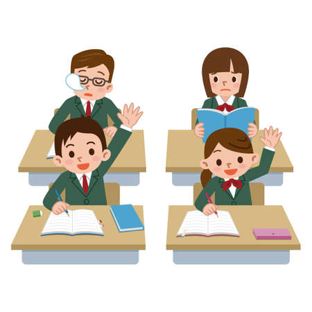 secondary: Male students has been falling asleep in class Illustration