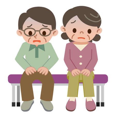 uneasy: Uneasy senior couple Illustration
