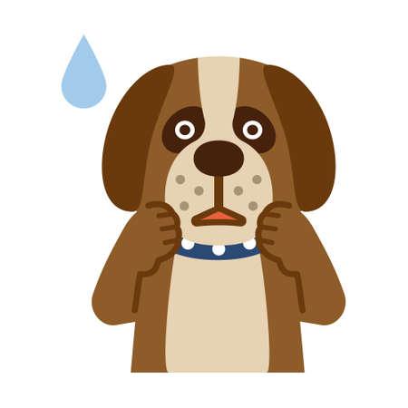 顔色が悪い犬です。  イラスト・ベクター素材