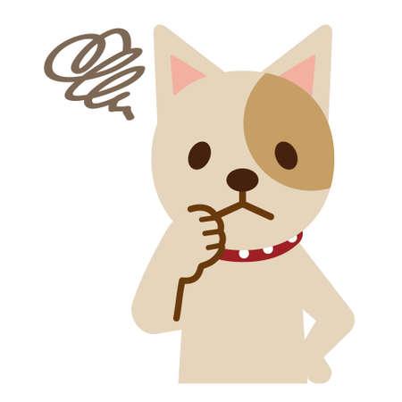困った表情の犬