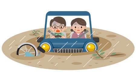 submerged: Illustration of submerged car