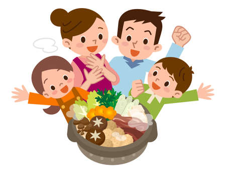 Smile of family rejoice in Casserole Illustration