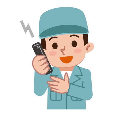 maintenance work: Maintenance worker talking on mobile phone