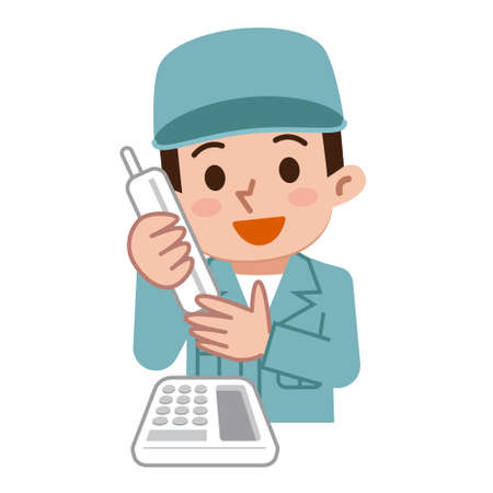 maintenance worker: Maintenance worker during telephone Illustration