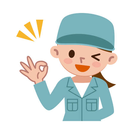Young woman in work clothes is issuing an OK sign