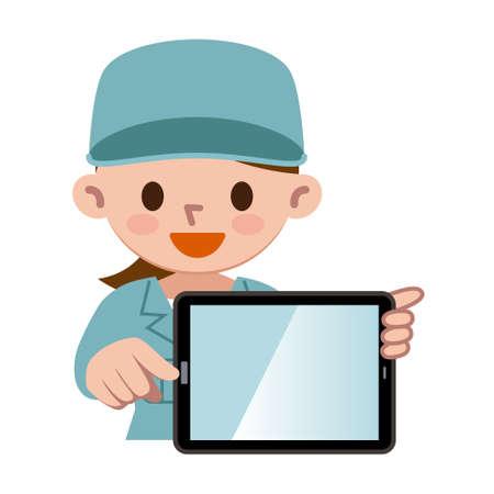 Work wear women with tablet PC