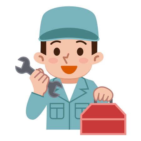 Männliche Arbeitnehmer mit Werkzeug Standard-Bild - 70369890