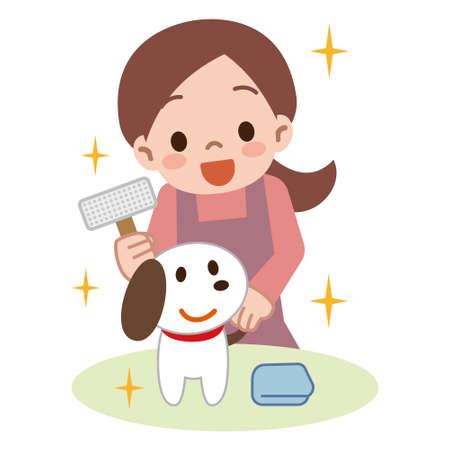 若い女性、犬のブラッシング