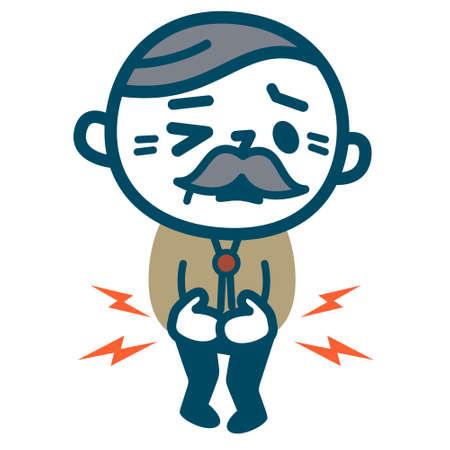 Stary człowiek z bólem brzucha
