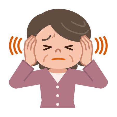 Senior women suffering from tinnitus Illustration