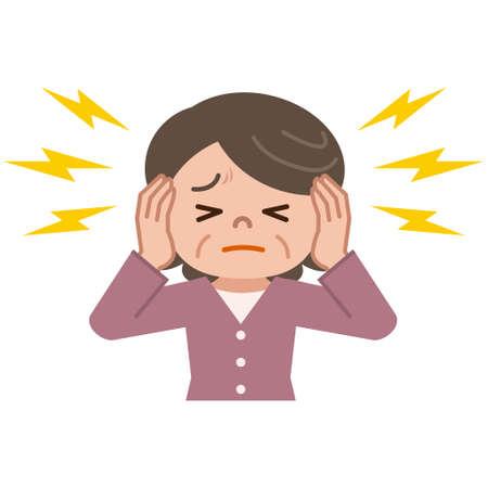ruido: Mujeres mayores que sufren de tinnitus