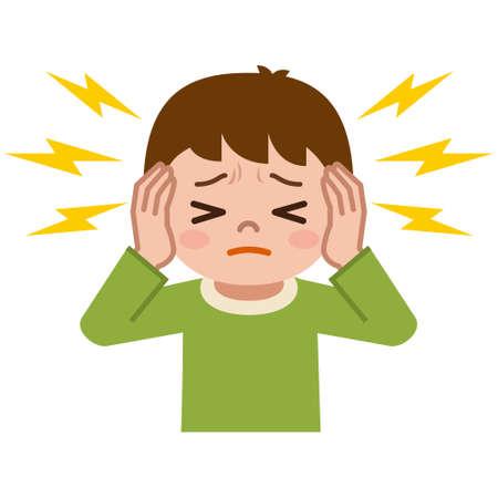 Boy suffering from tinnitus Banco de Imagens - 75884244