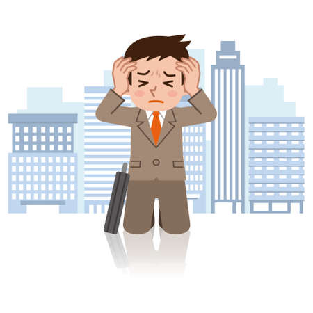 Young businessman with depression Illustration