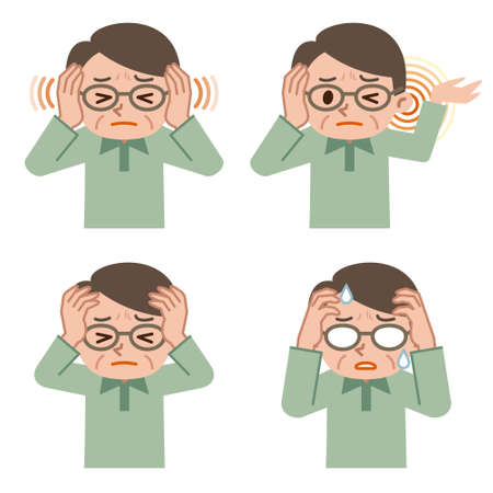 upset: Senior male set of headache Illustration