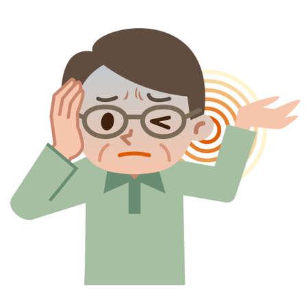 Senior male suffering from tinnitus