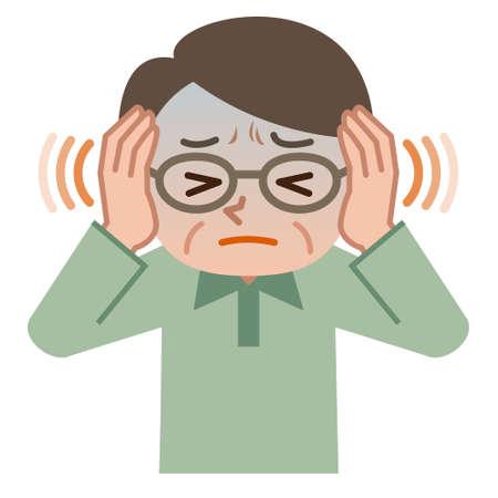ears: Senior male suffering from tinnitus