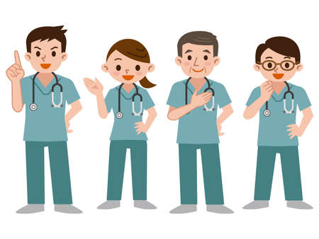 Set of doctors in a scrub