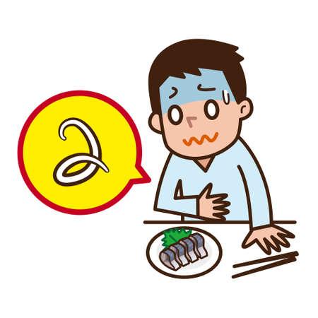 Los hombres sufren de intoxicación alimentaria Ilustración de vector