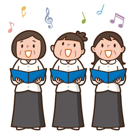 Three senior women singing together Illustration