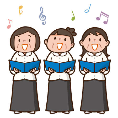 songbook: Three senior women singing together Illustration