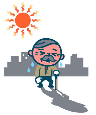 Elderly men suffering from heatstroke Illustration
